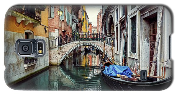 Gondola Parked On Lonely Water Canal In Venice, Italy Galaxy S5 Case