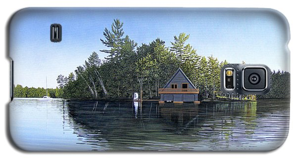 Galaxy S5 Case featuring the painting Island Boathouse Muskoka  by Kenneth M Kirsch