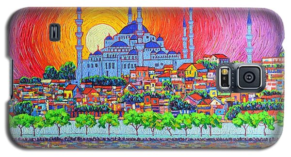 Istanbul Blue Mosque Sunset Modern Impressionist Palette Knife Oil Painting By Ana Maria Edulescu    Galaxy S5 Case