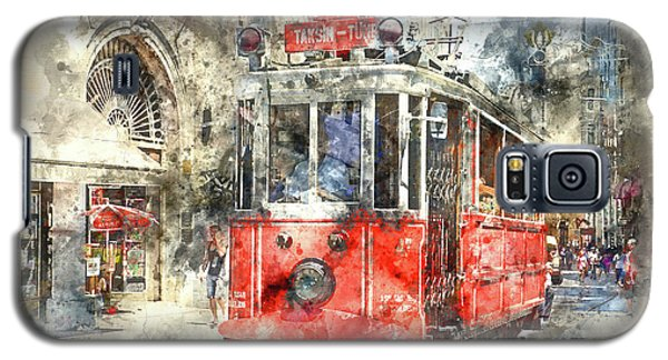 Istanbul Turkey Red Trolley Digital Watercolor On Photograph Galaxy S5 Case