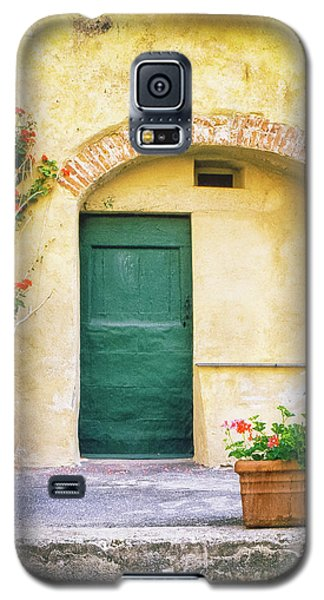 Galaxy S5 Case featuring the photograph Italian Facade With Geraniums by Silvia Ganora