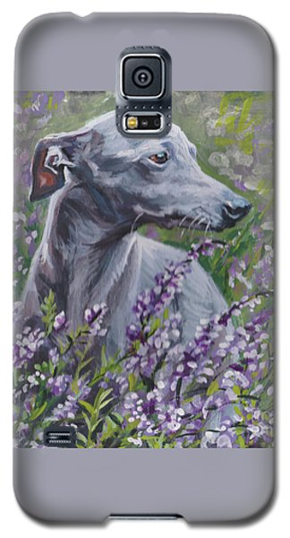 Galaxy S5 Case featuring the painting  Italian Greyhound In Flowers by Lee Ann Shepard