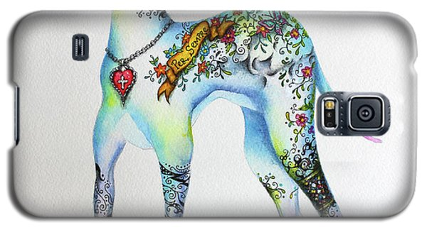 Galaxy S5 Case featuring the mixed media Italian Greyhound Tattoo Dog by Patricia Lintner
