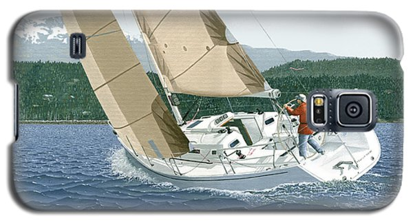 Galaxy S5 Case featuring the painting J-109 Sailboat Off Comox B.c. by Gary Giacomelli