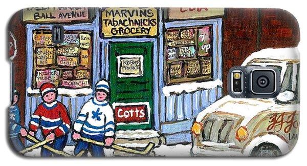 J J Joubert Vintage Milk Truck At Marvin's Grocery Montreal Memories Street Hockey Best Hockey Art Galaxy S5 Case