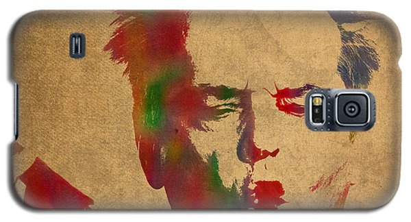 Jack Nicholson Smoking A Cigar Blowing Smoke Ring Watercolor Portrait On Old Canvas Galaxy S5 Case by Design Turnpike