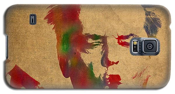 Jack Nicholson Smoking A Cigar Blowing Smoke Ring Watercolor Portrait On Old Canvas Galaxy S5 Case