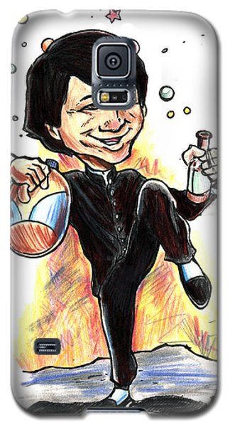 Galaxy S5 Case featuring the drawing Jackie Chan Drunken Master by John Ashton Golden