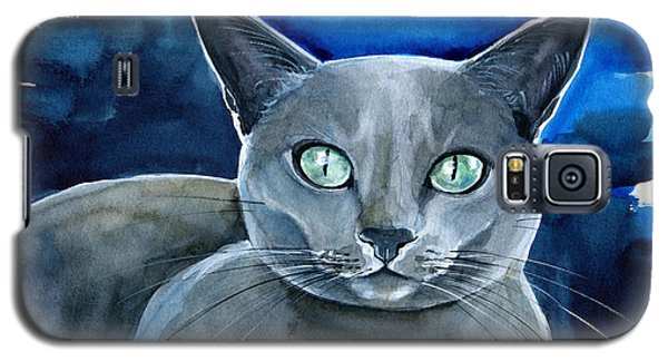 Jackpot - Russian Blue Cat Painting Galaxy S5 Case