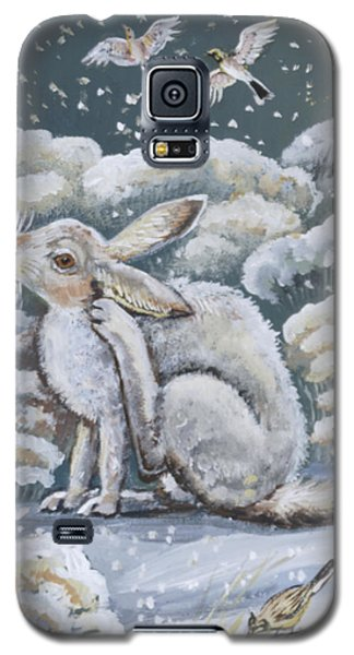 Galaxy S5 Case featuring the painting Jackrabbit And Horned Larks by Dawn Senior-Trask