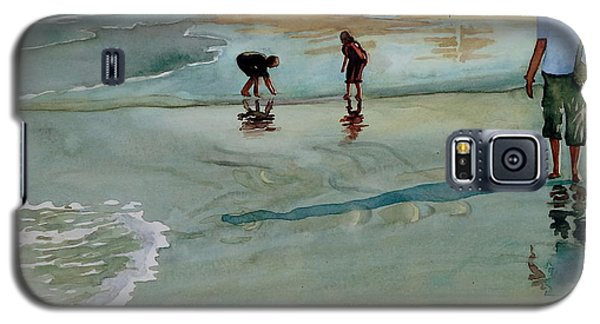 Galaxy S5 Case featuring the painting Jacksonville Shell Hunt by Jeffrey S Perrine