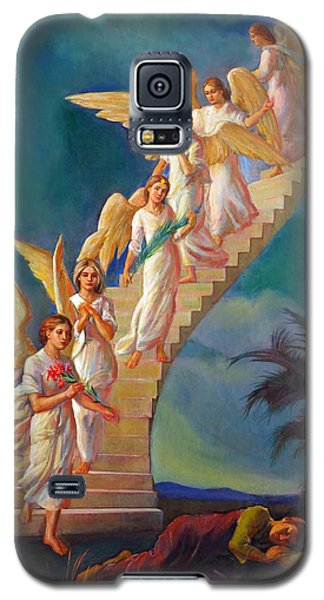 Galaxy S5 Case featuring the painting Jacob's Ladder - Jacob's Dream by Svitozar Nenyuk
