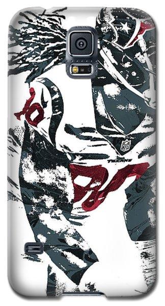 Galaxy S5 Case featuring the mixed media Jadeveon Clowney Houston Texans Pixel Art by Joe Hamilton