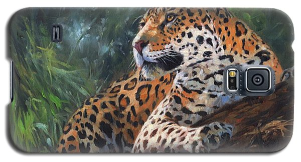 Galaxy S5 Case featuring the painting Jaguar In Tree by David Stribbling