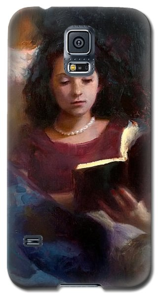 Galaxy S5 Case featuring the painting Jaidyn Reading A Book 1 - Portrait Of Young Woman by Karen Whitworth