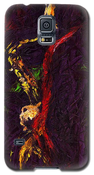Galaxy S5 Cases - Jazz Red Saxophonist Galaxy S5 Case by Yuriy  Shevchuk