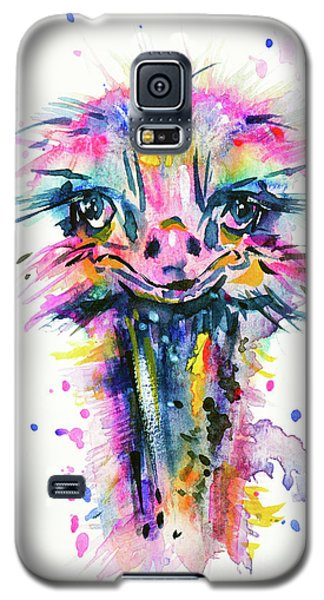 Galaxy S5 Case featuring the painting Jazzzy Ostrich by Zaira Dzhaubaeva