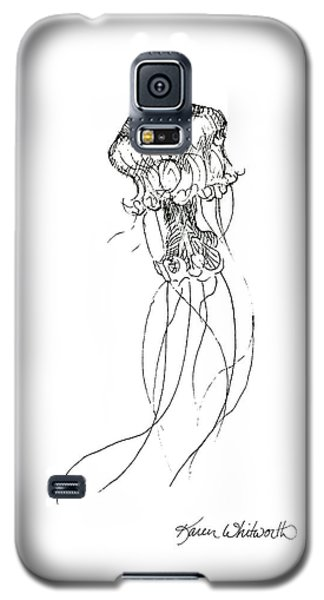 Jellyfish Sketch - Black And White Nautical Theme Decor Galaxy S5 Case