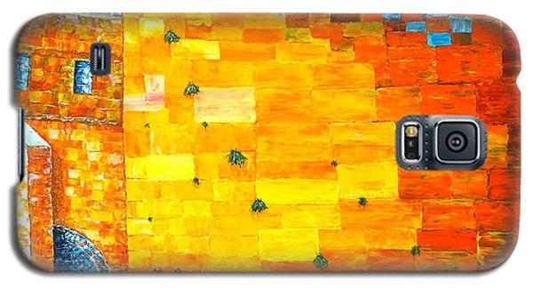 Jerusalem Wailing Wall Original Acrylic Palette Knife Painting Galaxy S5 Case by Georgeta Blanaru