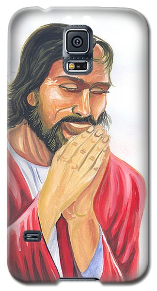 Galaxy S5 Case featuring the painting Jesus Praying by Emmanuel Baliyanga