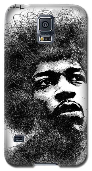 Jimi Hendrix Bw Scribbles Portrait Galaxy S5 Case