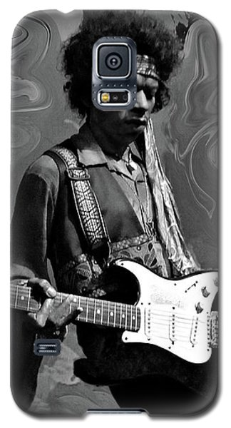 Galaxy S5 Case featuring the photograph Jimi Hendrix Purple Haze B W by David Dehner