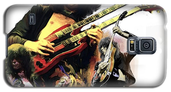 Galaxy S5 Case featuring the painting Jimmy Page  Echoes Of Pompeii by Iconic Images Art Gallery David Pucciarelli