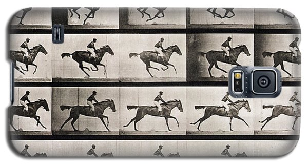 White Horse Galaxy S5 Case - Jockey On A Galloping Horse by Eadweard Muybridge