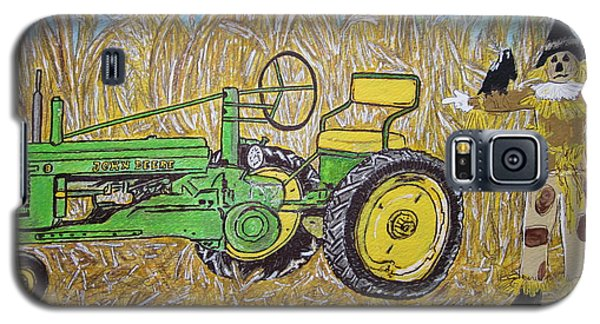 Galaxy S5 Case featuring the painting John Deere Tractor And The Scarecrow by Kathy Marrs Chandler