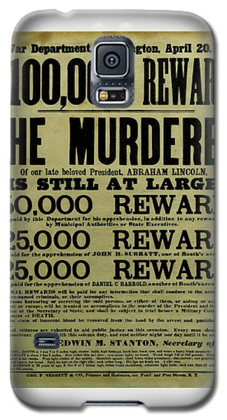 John Wilkes Booth Wanted Poster Galaxy S5 Case by War Is Hell Store