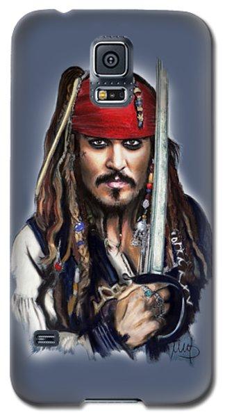 Johnny Depp Galaxy S5 Case - Johnny Depp As Jack Sparrow by Melanie D
