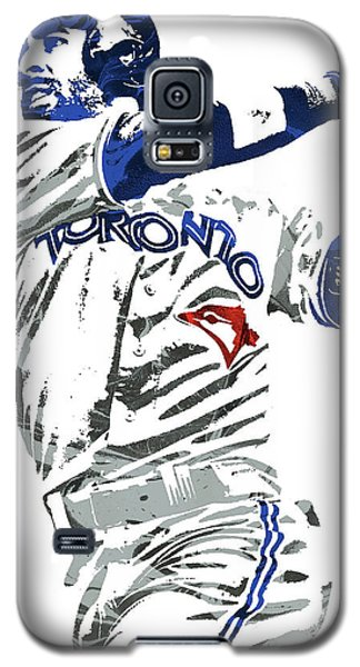 Galaxy S5 Case featuring the mixed media Jose Bautista Toronto Blue Jays Pixel Art 2 by Joe Hamilton