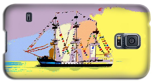 Galaxy S5 Case featuring the painting Jose Gasparilla Sailing Colorful Tampa Bay by David Lee Thompson