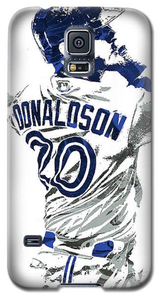 Galaxy S5 Case featuring the mixed media Josh Donaldson Toronto Blue Jays Pixel Art by Joe Hamilton