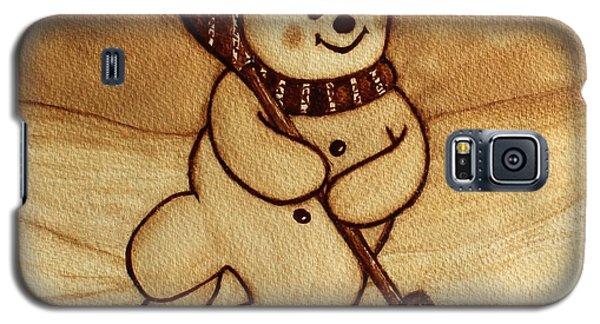 Joyful Snowman  Coffee Paintings Galaxy S5 Case by Georgeta  Blanaru