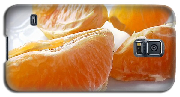 Juicy Orange Slices On A Blue Glass Plate Galaxy S5 Case by Louise Kumpf