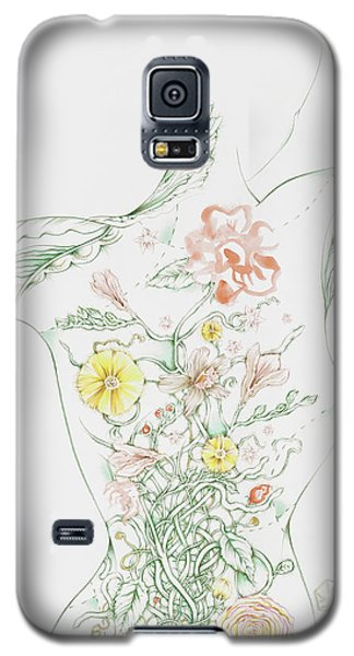 Galaxy S5 Case featuring the drawing Julianna by Karen Robey