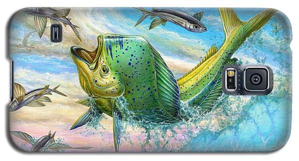Dolphin Galaxy S5 Case - Jumping Mahi Mahi And Flyingfish by Terry Fox