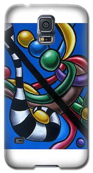 Jungle Stripes 3 - Original Abstract Art Painting - Modern Chromatic Art Galaxy S5 Case