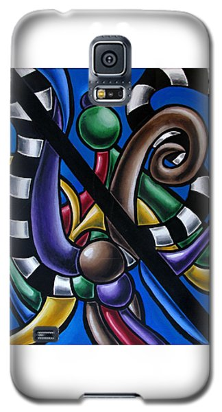 Colorful 3d Abstract Art Painting - Multicolored Original Artwork - Black And White Stripes Galaxy S5 Case