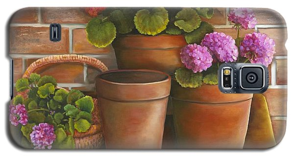 Galaxy S5 Case featuring the painting Just Geraniums by Marlene Book