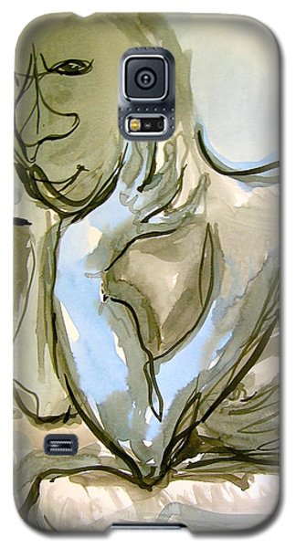 Galaxy S5 Case featuring the painting Just Thinking by Mary Schiros