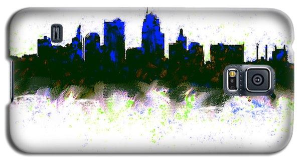 Kansas City Skyline Blue  Galaxy S5 Case by Enki Art