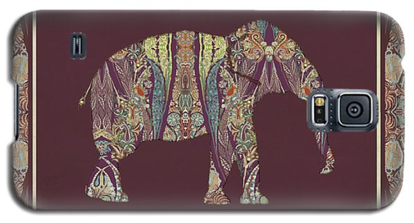 Galaxy S5 Case featuring the painting Kashmir Patterned Elephant 2 - Boho Tribal Home Decor  by Audrey Jeanne Roberts