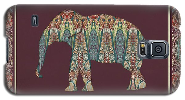 Galaxy S5 Case featuring the painting Kashmir Patterned Elephant - Boho Tribal Home Decor  by Audrey Jeanne Roberts