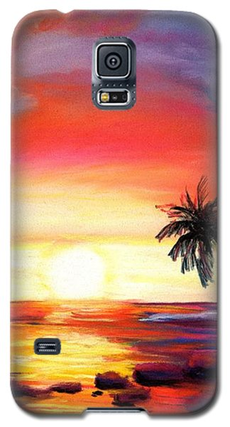 Galaxy S5 Case featuring the painting Kauai West Side Sunset by Marionette Taboniar