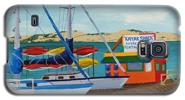 Galaxy S5 Case featuring the painting Kayak Shack Morro Bay California by Katherine Young-Beck