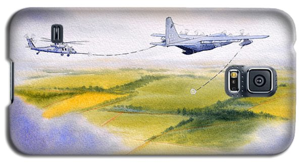Galaxy S5 Case featuring the painting Kc-130 Tanker Aircraft Refueling Pave Hawk by Bill Holkham