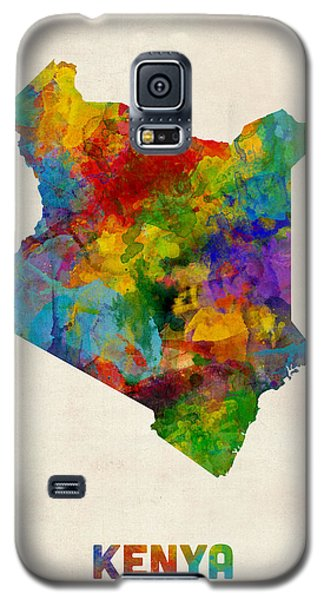 Galaxy S5 Case featuring the digital art Kenya Watercolor Map by Michael Tompsett