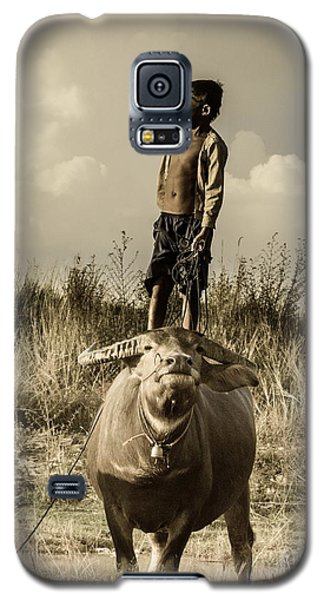 Galaxy S5 Case featuring the photograph Kid And Cow by Arik S Mintorogo